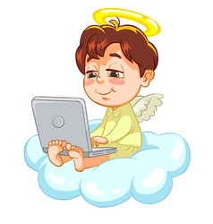Little baby angel with laptop vector
