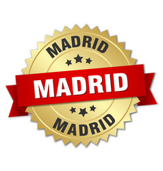 Madrid round golden badge with red ribbon vector