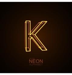 Neon 3D letter K vector image vector image
