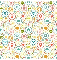 Seamless pattern with icons on various themes vector image vector image