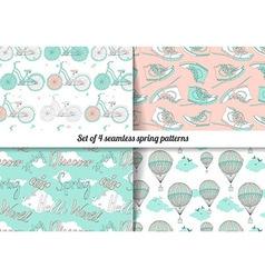 Set of 4 vintage spring pattern vector
