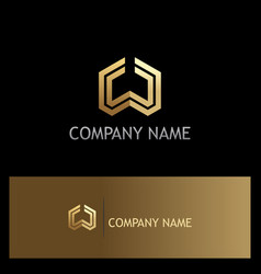 shape geometry gold company logo vector image