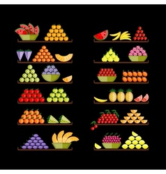 Shelves with fruits for your design vector image vector image