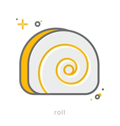 Thin line icons roll vector