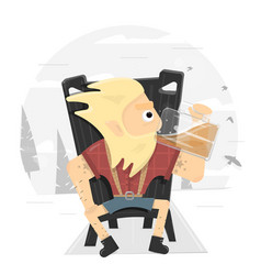 viking on a throne drinking a large mug of beer vector image