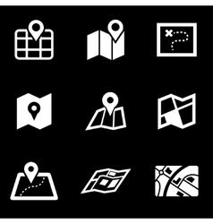 white map icon set vector image vector image