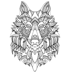 Wolf coloring book for adults vector image vector image