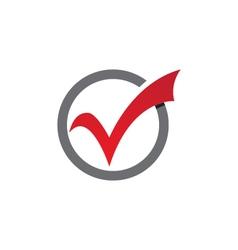 Check mark V Letter Logo Template vector image