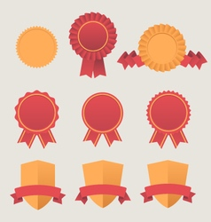 Heraldic emblem shields awards with ribbons vector
