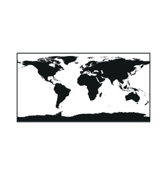 Black political world map monochrome on white vector