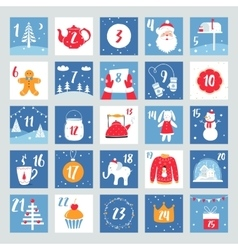 Christmas advent calendar countdown poster vector