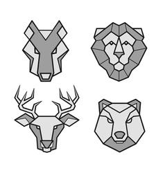 Wild animals geometric head icons set vector image