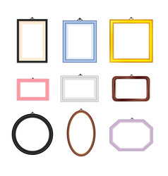 photo frames rectangle oval and square set vector image