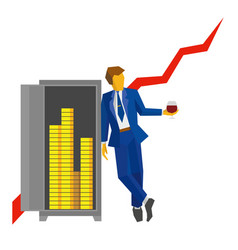 Businessman with wineglass near safe with money vector
