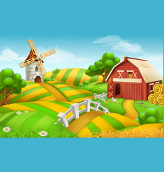 Farm field landscape 3d background vector