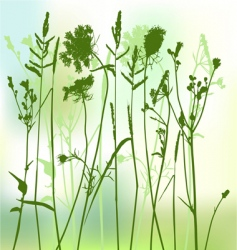 Real grass silhouette two colors vector