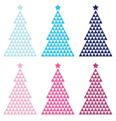Colorful mosaic xmas tree set isolated on white vector