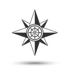 Wind rose compass icon in dark grey color with vector