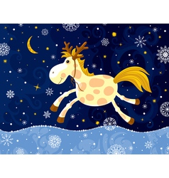 Running horse in winter vector