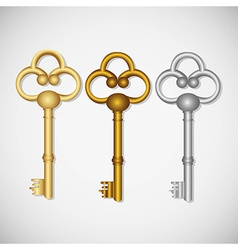 Set of old keys isolated on white background vector