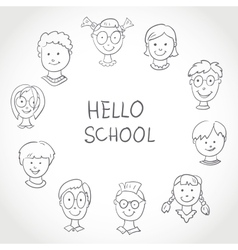 Hello School Kids Face Set Sketch vector image