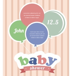Colorful party balloons celebrating a newborn baby vector image