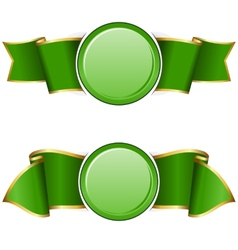 Green round frame with ribbon vector