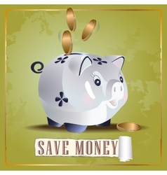 Save money cash pig vector