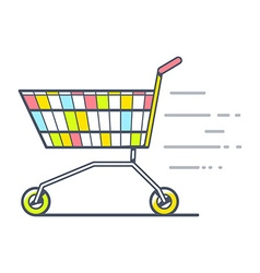 Colorful fast moving shopping trolley sid vector