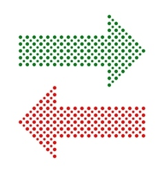 Fine dotted red and green arrows vector