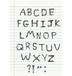 scribble alphabet on notebook vector image