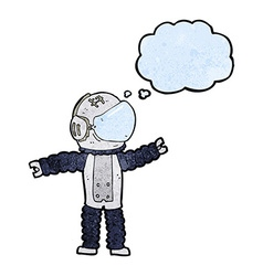 Cartoon astronaut reaching with thought bubble vector