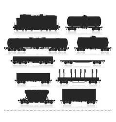 Set of train with freight wagons vector