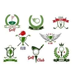 Golf club emblems and icons with game items vector