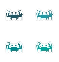 Assembly realistic sticker design on paper dinner vector
