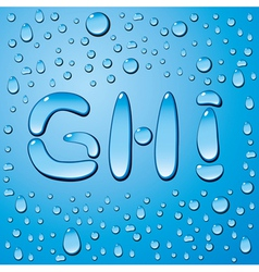 Set of water drops letters on blue background vector