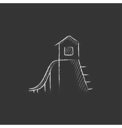 Playhouse with slide drawn in chalk icon vector