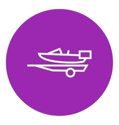Boat on trailer for transportation line icon vector
