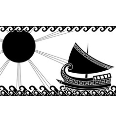 Greek ship stencil black vector
