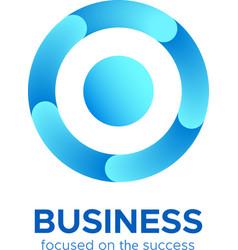 Blue circle target icon or round loop logo vector