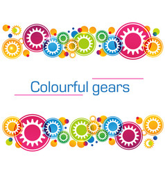 Abstract background of bright colored gears and vector