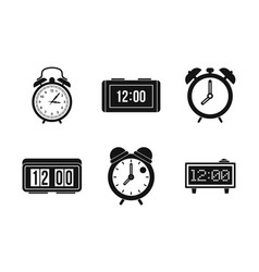 alarm clock icon set simple style vector image
