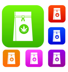 bag with cannabis set collection vector image vector image
