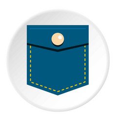 Blue jeans pocket with button icon circle vector