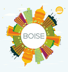 boise usa skyline with color buildings blue sky vector image vector image