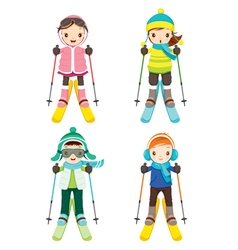 Boy And Girl In Skiing Clothing Set vector image vector image
