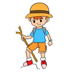 Boy climbing character style design vector