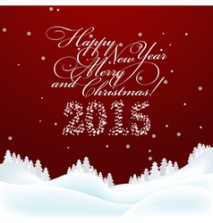 Christmas and New Year Greeting Card Merry vector image