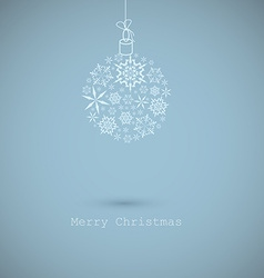 Christmas ball made from snowflakes on blue vector image
