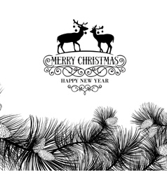 Christmas frame with deers vector